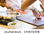 kinds in cooking class making... | Shutterstock . vector #145876508