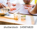 kinds in cooking class making... | Shutterstock . vector #145876820