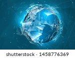 vector globe  planet earth ... | Shutterstock .eps vector #1458776369