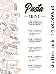 vector hand drawn pasta menu.... | Shutterstock .eps vector #1458789653