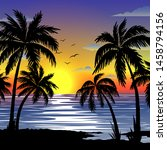 Tropical  Landscape With  Palms....