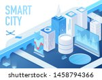 isometric model of modern smart ... | Shutterstock .eps vector #1458794366