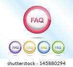 vector glossy faq icon button... | Shutterstock .eps vector #145880294
