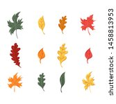 autumn leaves set  isolated on... | Shutterstock .eps vector #1458813953