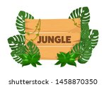 empty wooden banner board with... | Shutterstock .eps vector #1458870350