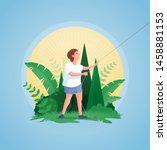 full length profile drawing of... | Shutterstock .eps vector #1458881153
