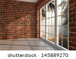 brick room with large window in ... | Shutterstock . vector #145889270