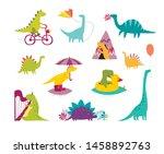 dinosaur funny set vector... | Shutterstock .eps vector #1458892763