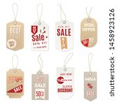 realistic price tag. 3d sale... | Shutterstock .eps vector #1458923126