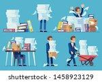 unorganized office work.... | Shutterstock .eps vector #1458923129