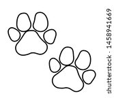 paw vector icon  black cat and... | Shutterstock .eps vector #1458941669