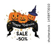 halloween sale 50 percent.... | Shutterstock .eps vector #1458973010
