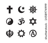 icon set of religious symbols.... | Shutterstock .eps vector #1458974999
