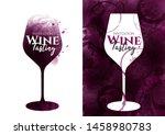 illustration of red wine glass... | Shutterstock .eps vector #1458980783