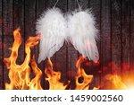 White Angel Wings Hang On Blac...