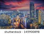 River In Bangkok City In Night...