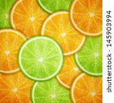 orange and lime fruit slices... | Shutterstock .eps vector #145903994