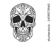 mexican sugar skull monochrome... | Shutterstock .eps vector #1459073960