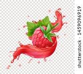 raspberry in splashing red... | Shutterstock .eps vector #1459096919