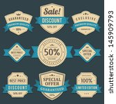 vintage labels or badges and... | Shutterstock .eps vector #145909793