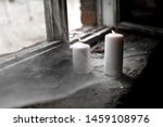 Two Burning Candles In The Old...