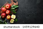 fresh red apples with green... | Shutterstock . vector #1459129640