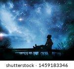 girl watching the stars in... | Shutterstock . vector #1459183346