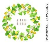 ginkgo biloba wreath branch... | Shutterstock . vector #1459202879