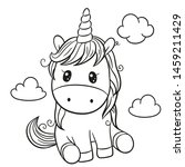 Cute Cartoon Unicorn Outlined...