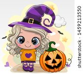 cute halloween card with girl... | Shutterstock .eps vector #1459213550
