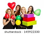 girls having a party with... | Shutterstock . vector #145922330