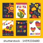 mexican fiesta card set ... | Shutterstock .eps vector #1459233680