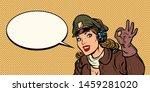 okay gesture. girl woman retro... | Shutterstock .eps vector #1459281020