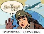 bon voyage girl woman retro... | Shutterstock .eps vector #1459281023