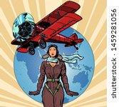 Woman Pilot Of A Vintage...