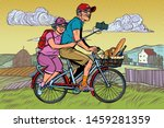 old man and old lady travelers... | Shutterstock .eps vector #1459281359