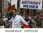 NEW YORK - JUNE 29: Congressman Anthony Weiner (D-NY) participate in the Pride Parade on June 29, 2008 in New York City. - stock photo