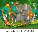 cartoon tropic or safari  ... | Shutterstock . vector #145932734