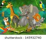 cartoon tropic or safari  ... | Shutterstock . vector #145932740