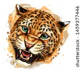 Growling Leopard. Color  Hand...