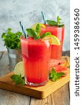 watermelon slushie with lime... | Shutterstock . vector #1459386560