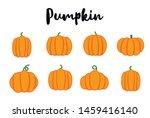 cartoon halloween pumpkin set.... | Shutterstock .eps vector #1459416140