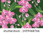 seamless pattern with floral...   Shutterstock .eps vector #1459468766