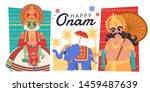 happy onam flat design with... | Shutterstock .eps vector #1459487639