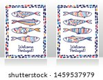Stock vector two touristic banners for welcome portugal with cute doodle sardines sketch style vector 1459537979