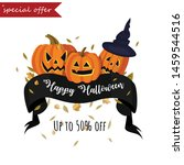 happy halloween. sale. up to 50 ... | Shutterstock .eps vector #1459544516