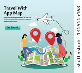 travel with app map vector...
