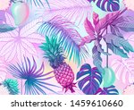 tropical plants and flowers.... | Shutterstock .eps vector #1459610660