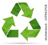 recycle symbol from crumpled... | Shutterstock . vector #145961918