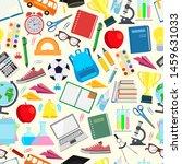 seamless pattern. school. back...   Shutterstock . vector #1459631033